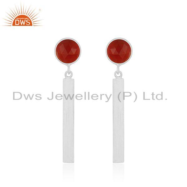 Red Onyx Gemstone 925 Sterling Fine Silver Bar Earring Manufacturer of Jewelry