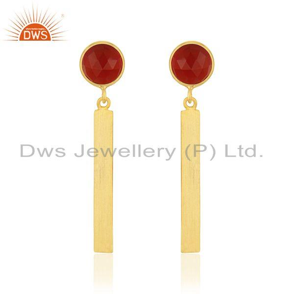 Yellow Gold Plated Sterling Silver Red Onyx Gemstone Bar Earring Manufacturer