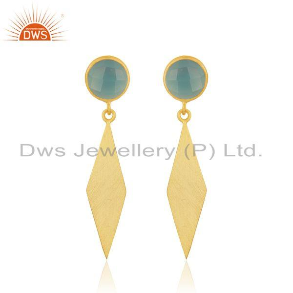Aqua Chalcedony Gemstone Handmade Gold Plated Silver Earring Manufacturer