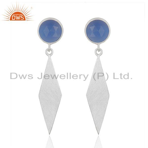 Blue Chalcedony Designer Fine Silver Gemstone Earrings Jewelry Supplier