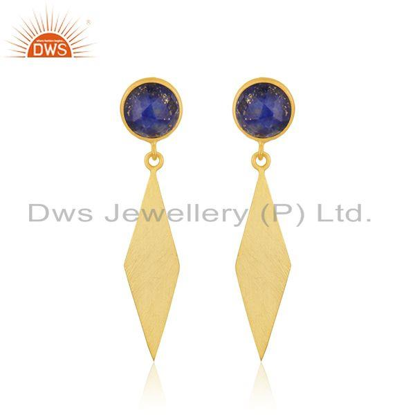 Lapis Lazuli Gemstone Yellow Gold Plated Dangle Earrings Manufacturer INdia