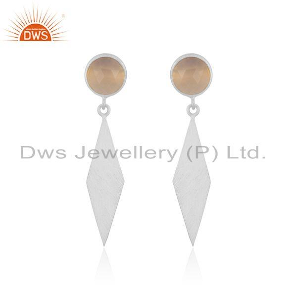Rose Chalcedony Gemstone Sterling 925 Silver Earrings Wholesale Suppliers