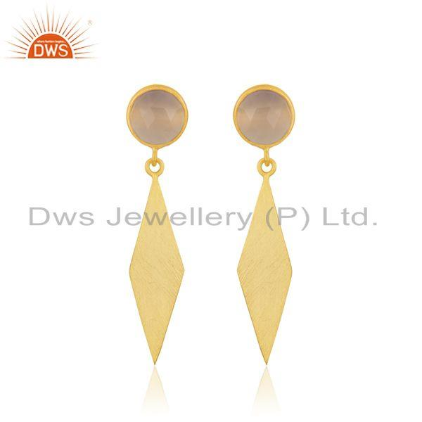 14k Yellow GOld Plated 925 Silver Rose Chalcedony Gemstone Earrings Manufacturer