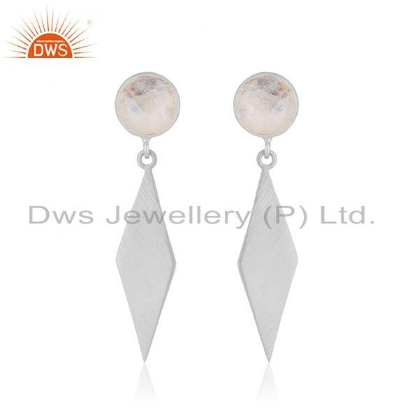 Supplier of Fine Silver Rainbow Moonstone Gemstone Earrings Jewelry