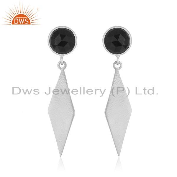 Fine Silver Sterling Silver Black Onyx Gemstone Earrings Jewelry Supplier