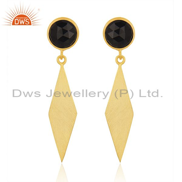 New BLack Onyx Gemstone Silver Gold Plated Earrings Jewelry