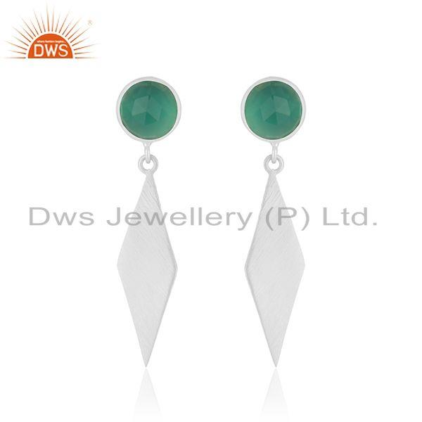 Indian Sterling SIlver Green Onyx Gemstone Dangle Earrings Jewelry