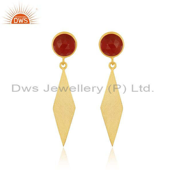 Yellow Gold Plated Sterling Silver Red Onyx Gemstone Earrings Manufacturer India