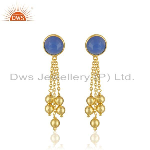 Designer Gold Plated 925 Silver Blue Chalcedony Earrings Jewelry Manufacturer