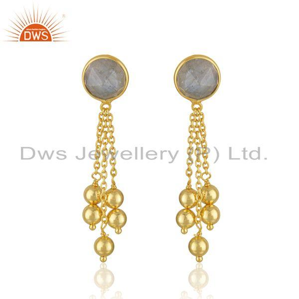 New Arrival Gold Plated 925 Silver Labradorite Gemstone Earrings Jewelry
