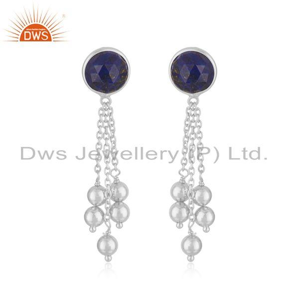 Indian 925 Fine Silver Natural Lapis Gemstone Chain Designer Earrings