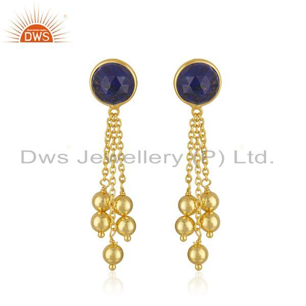 Natural Lapis Gemstone Gold Plated Silver Chain Earrings Jewelry Supplier