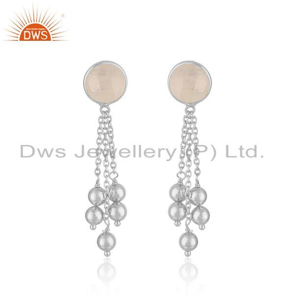 Rainbow Moonstone Fine Sterling Silver Chain Earring Manufacturer In India