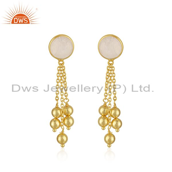 Rainbow Moonstone Gold Plated 925 SIlver Chain Earring Jewelry