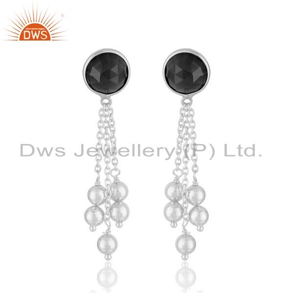 Black Onxy Gemstone Drop Design Handmade Silver Earrings Jewelry