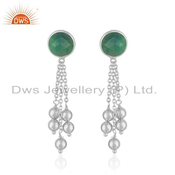 Green Onyx Gemstone Sterling Silver Chain Earrings Jewelry