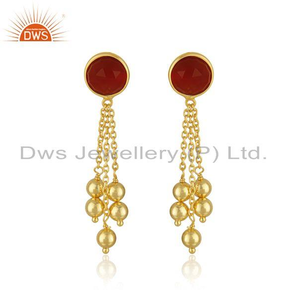 Yellow Gold Plated 925 Silver Red Onyx Gemstone Girls Earring Manufacturer