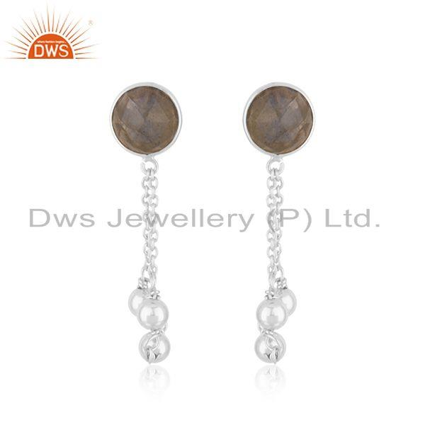 New Sterling Fine SIlver Natural Labradorite Gemstone Earring Jewelry