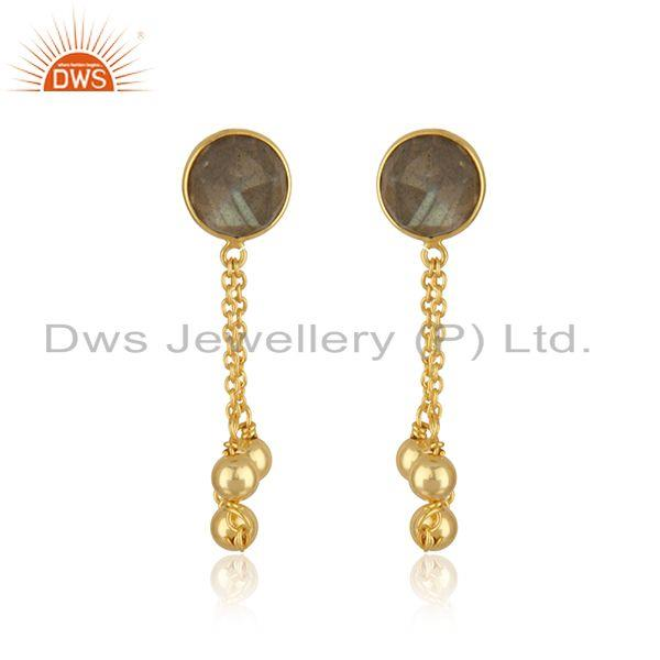 18k Gold Plated Sterling Silver Labradorite Gemstone Chain Earring Supplier