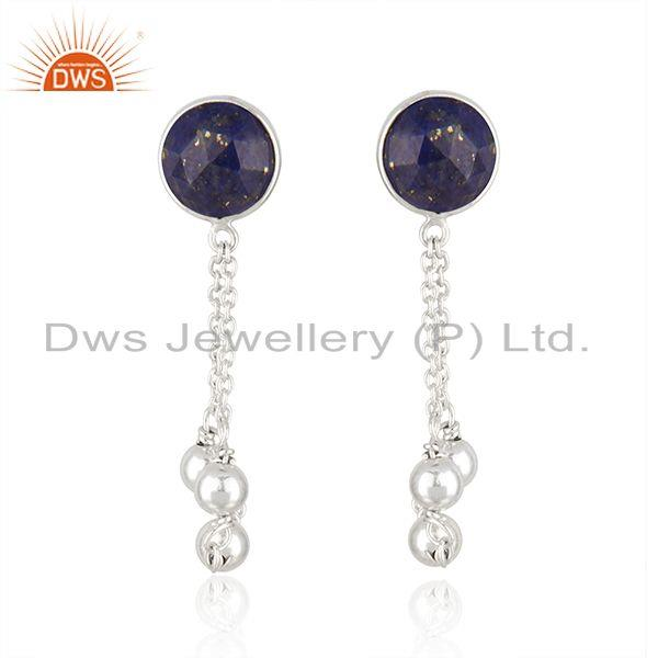 New Designer Sterling Silver Natural Lapis Earrings Jewelry Supplier