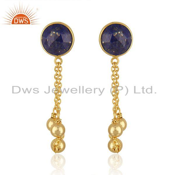 Natural Lapis Stone Designer Gold Plated Silver Chain Designer Earrings