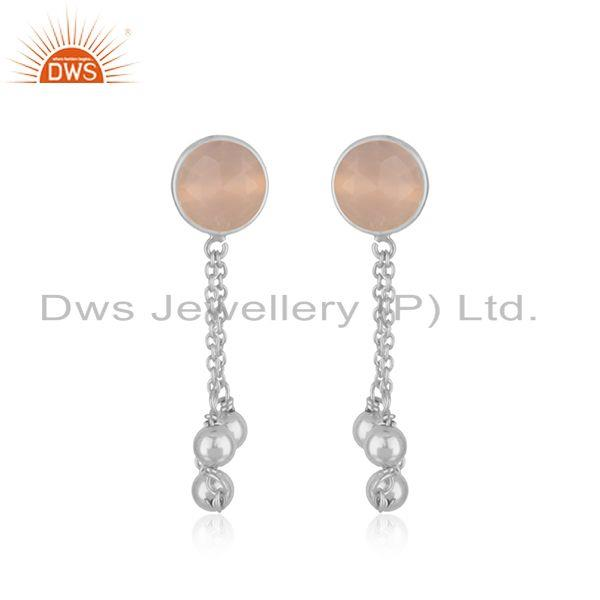 Rose Chalcedony Gemstone Handmade 925 Sterling Silver Chain Earring Suppliers