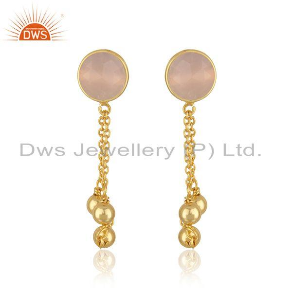 Rose Chalcedony Gemstone Gold Plated 925 Silver Chain Pendant Wholesale