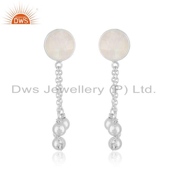 Womens 925 Fine Silver Rainbow Moonstone Gemstone Earrings Jewelry