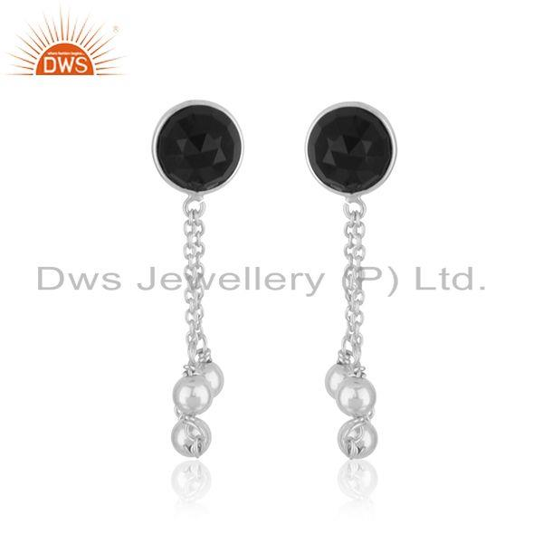 Black Onyx Gemstone Handmade Fine Sterling Silver Chain Earring Manufacturer
