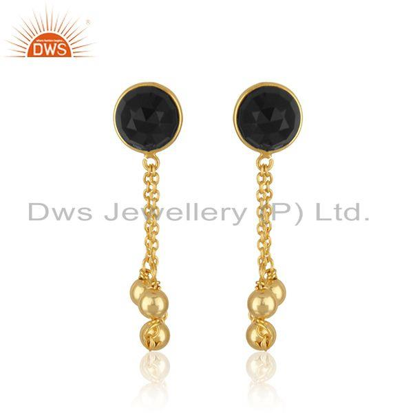 Black Onyx Gemstone 925 Silver Designer Gold Plated Earrings Jewelry