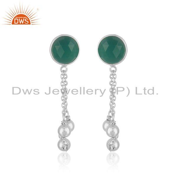 Green Onyx Gemstone Fine Sterling Silver Chain Earring Manufacturer India