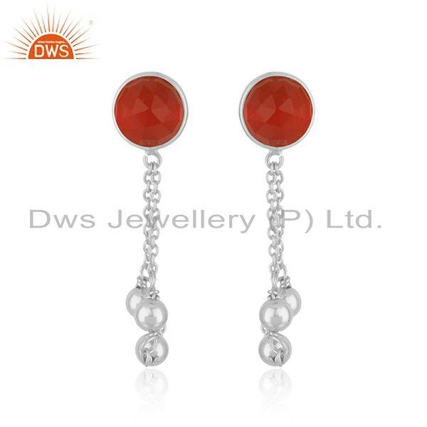 Red Onyx Gemstone Designer Fine Sterling Silver Chain Earring Supplier