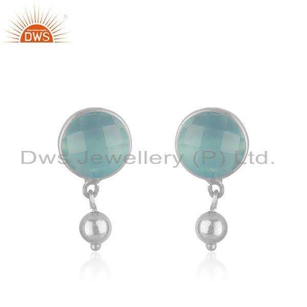 Aqua Chalcedony Gemstone Fine Sterling Silver Drop Earring Wholesale