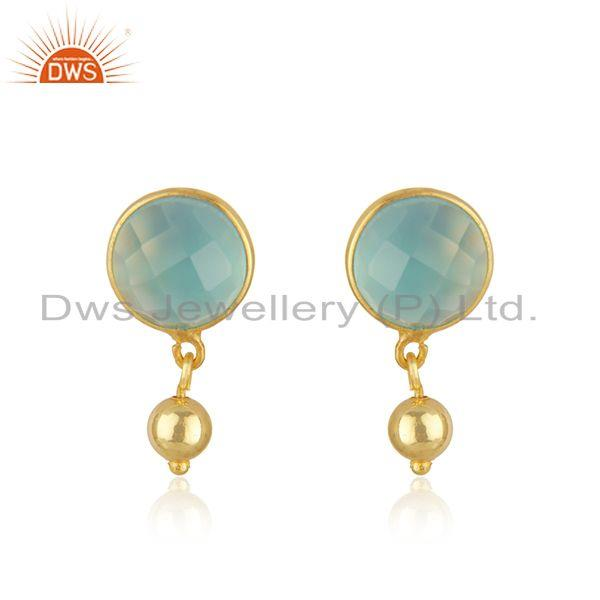 Manufacturer Aqua Chalcedony Gemstone Silver Gold Plated Earrings Jewelry