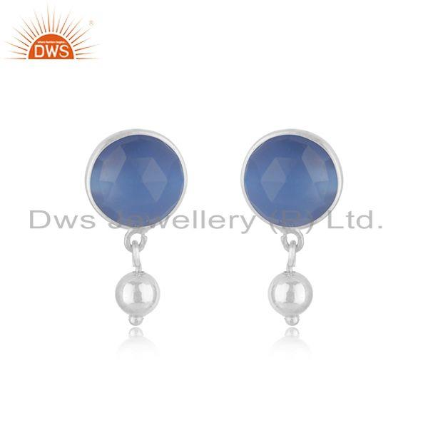 Blue Chalcedony Gemstone Earring Sterling Fine Silver Earrings Jewelry Supplier