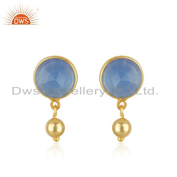 18k Gold Plated Silver Designer Blue Chalcedony Gemstone Earrings Jewelry