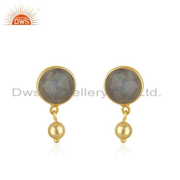 Labradorite Gemstone Gold Plated 925 Silver Drop Earring Manufacturer