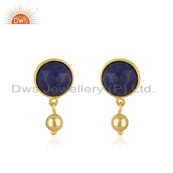 Lapis Lazuli Gemstone Gold Plated 925 Silver Drop Earring Manufacturer in Jaipur