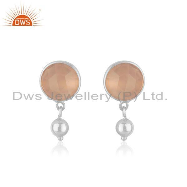 Handmade Fine Sterling Silver Rose Chalcedony Gemstone Drop Earring Manufacturer