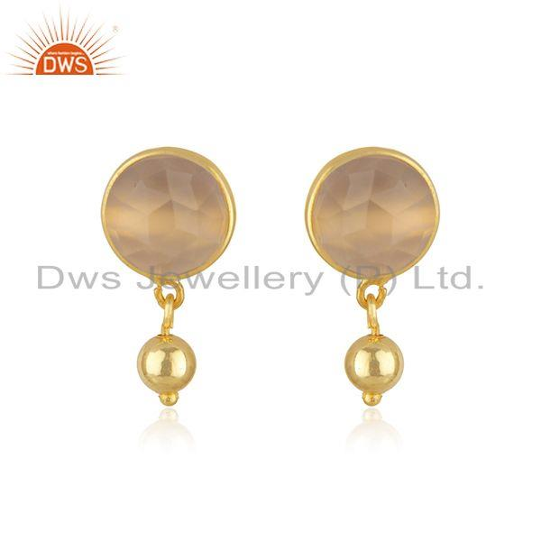 Rose Chalcedony Gemstone Earring Gold Plated Silver Earrings Jewelry