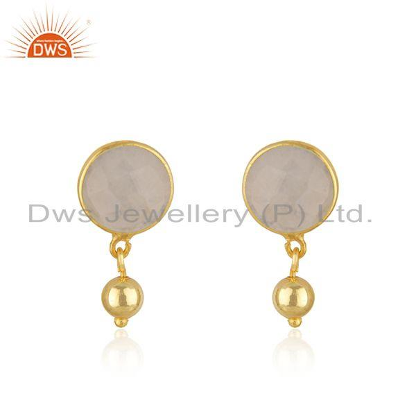 Rainbow Moonstone Gemstone Gold Plated Silver Designer Earring Jewelry
