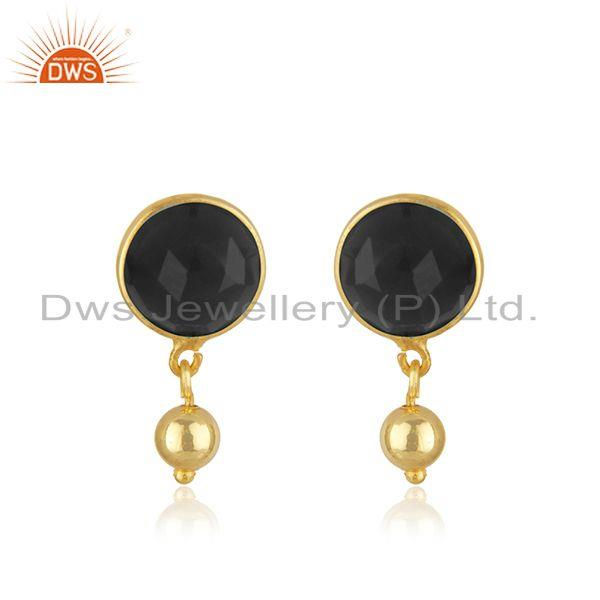 Designer Silver Gold Plated Black Onyx Gemstone Earrings Jewelry Supplier