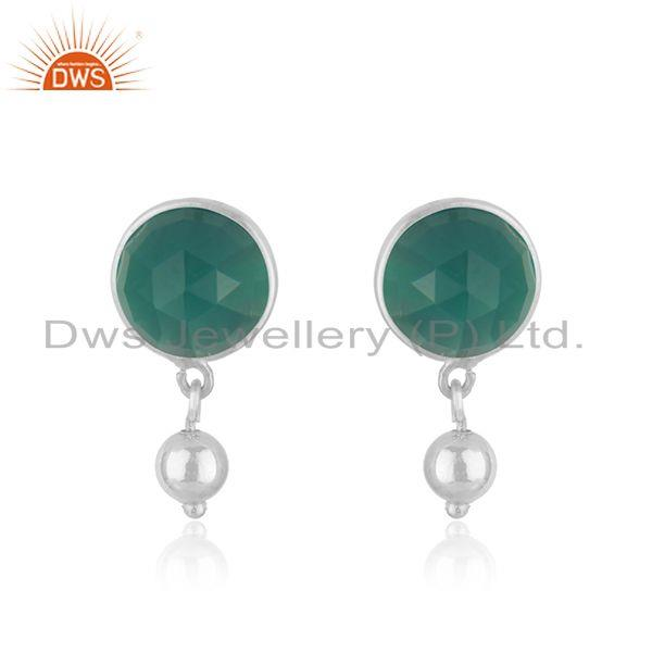 Green Onyx Gemstone Fine Sterling Silver Drop Earring Manufacturer Jaipur India