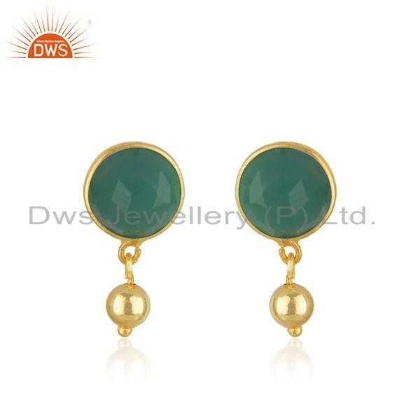 Designer Silver Gold Plated Green Onyx Gemstone Earrings Jewelry