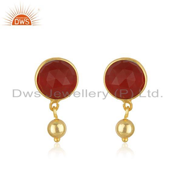 Red Onyx Gemstone Gold Plated Sterling Silver Drop Earring Manufacturer