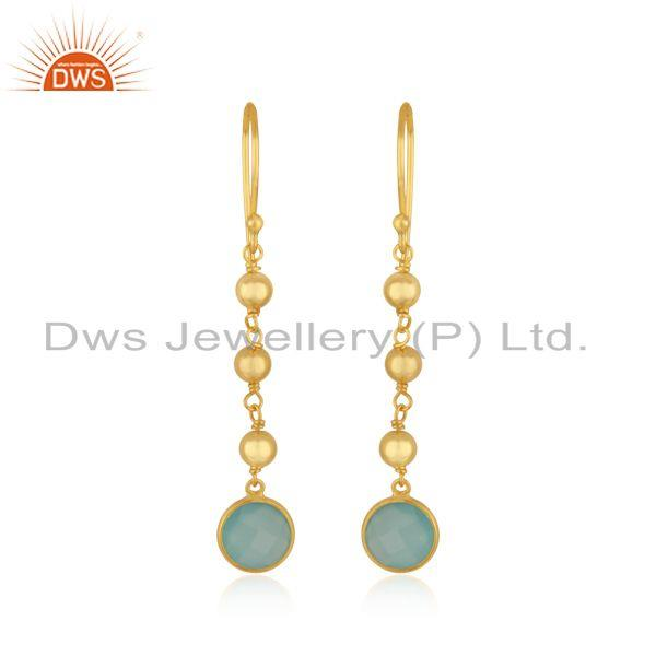 Handmade Gold Plated Silver Gold Plated Aqua Chalcedony Earrings Jewelry