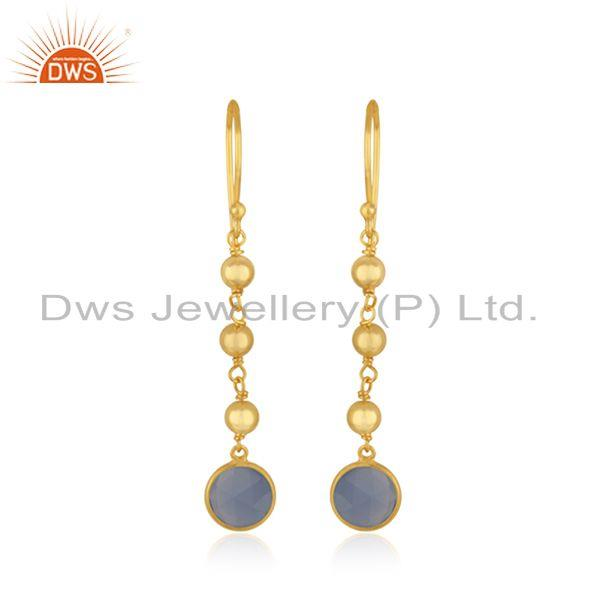 Indian Blue Chalcedony Designer Gold Plated Silver Earrings Jewelry