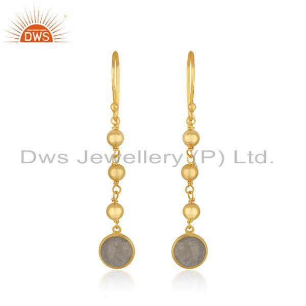 Labradorite Gemstone Yellow Gold Plated 925 Silver Earring Manufacturer in India
