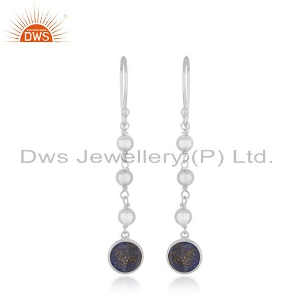Designer Sterling Fine Silver Lapis Gemstone Earrings Jewelry