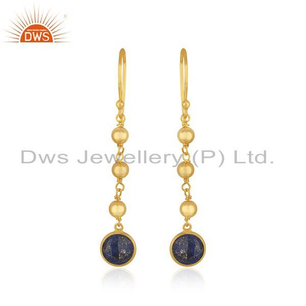 Lapis Lazuli Gemstone Gold Plated 925 Silver Earring Manufacturer India